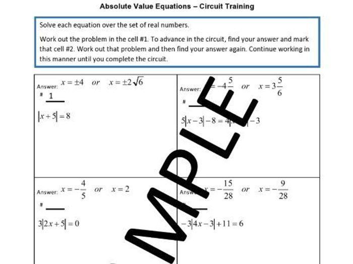 Circuit Training Absolute Value Equations - Circuit Diagram Symbols •