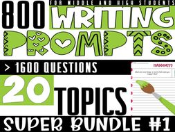 Writing Prompts for Middle and High | SUPER BUNDLE#1