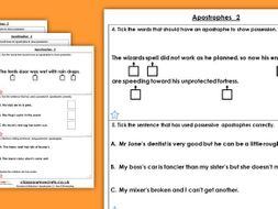 Grammar Year 3 Apostrophes 2 Autumn Block 1 Homework Extension
