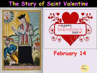 St Valentine Lesson/Assembly Presentation (22 Slides), Worksheets, Word Searches, Teacher Notes KS1