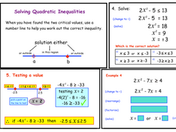 Solving Quadratic Inequalities By A Gualda Teaching Resources Tes