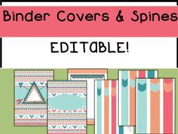 editable binder covers and spines boho style by laprofesorafrida