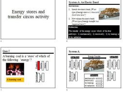 Circus Activity, Worksheet and Quiz for ''Energy Stores and Transfers''