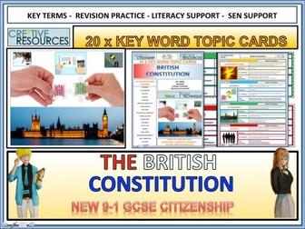 British Constitution Topic Revision cards 9-1