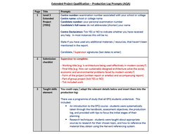 Extended Project Qualification – Production Log Prompts (AQA)