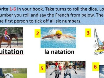 Sport in French - dice game.