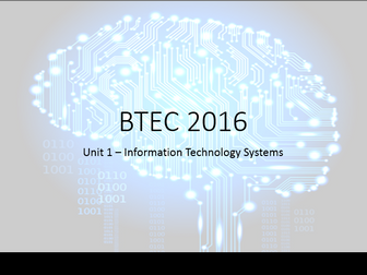 BTEC Nationals in Information Technology 2016 - Unit 1 - Learning Aim D & E