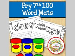 Sight Word Mats:  Fry 7th 100 Word Mats – Black and White