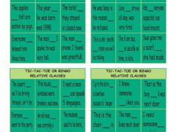 Relative Clauses Tic-Tac-Toe or Bingo