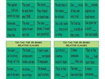 Relative Clauses Tic-Tac-Toe or Bingo