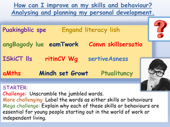 Target Setting : PSHE / Tutor Time Activities