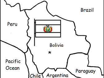 BOLIVIA - Printable handout with map and flag