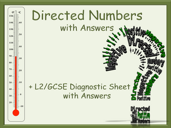 Directed Numbers and Numbers worksheets - with ANSWERS - Functional Skills L2 GCSE