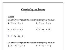 10 GCSE Higher Algebra Worksheets