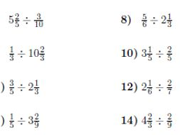 Division between fractions and mixed numbers worksheet (with solutions)