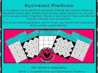 Equivalent Fraction/Simplest Form Puzzle Boards