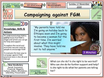 Campaigning against FGM - PSHE