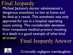 Jeopardy Law Game, MANSLAUGHTER, Criminal Law & Justice