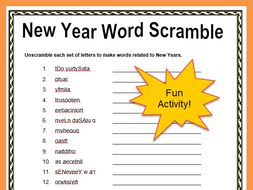 Free New Year Word Scramble Print and Go Activity with ...