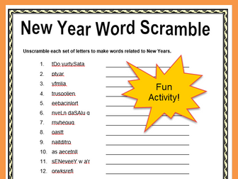 Free New Year Word Scramble Print and Go Activity with Answers