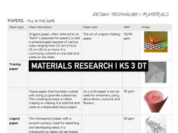 MATERIALS ResearchTask   Fill in the gaps   DT KS 3