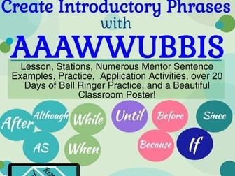 Introductory Phrases with AAAWWUBBIS, Lesson, Stations, Games, Practice, Poster