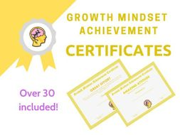 Growth Mindset Achievement Certificates Yellow Edition