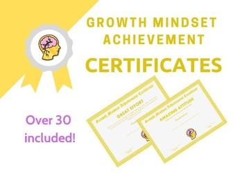 Growth Mindset Achievement Certificates Yellow Edition