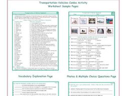 Transportation-Vehicles Combo Activity Worksheets