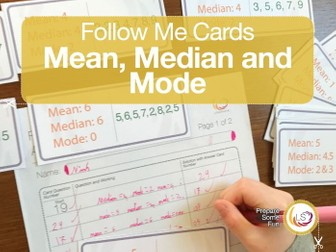 Averages Follow Me Cards - a game for Mean, Median and Mode.