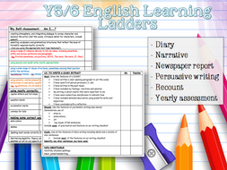Y5 / Y6 English Learning Ladders Assessment - Diary Narrative Newspaper Persuasive Recount