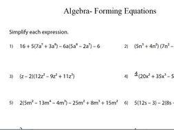 gcse maths worksheet algebraic equations by theeducationspecialist  gcse maths worksheet algebraic equations