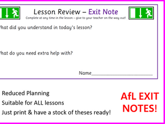 Generic 'Exit Notes' - Lesson Review / Assessment for Learning (all subject areas) - Easy Plenary!