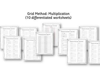 Year 3 / Year 4 Maths: Grid method multiplication - 2 digit and 3 digit numbers - 10 worksheets