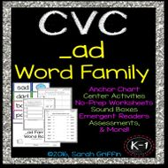 CVC ad Word Family Worksheets, Centers, Word Cards, and Assessments