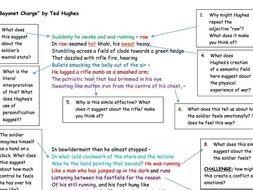 """GCSE Poetry Anthology: """"Bayonet Charge"""" Analysis Task"""