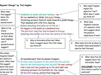 "GCSE Poetry Anthology: ""Bayonet Charge"" Analysis Task"