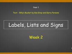 Year 1: Labels, Lists and Signs (Week 2 of 2)