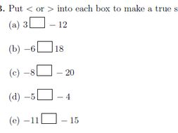 Ordering and comparing integers worksheet no 2 (with solutions)