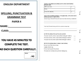 Spelling, punctuation and grammar test - Paper 4