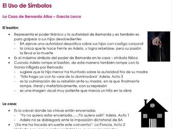 El USO DE SIMBOLOS en 'La Casa de Bernarda Alba' notes for A2 Spanish