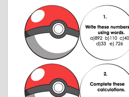 Pokemon themed maths challenges.