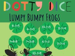 Numeracy Board Games - Addition & Subtraction problems - Lumpy Bumpy Frogs