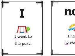 set 1 keyword/tricky word flashcards with sentences