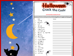 Halloween Crack the Code fun puzzle worksheet
