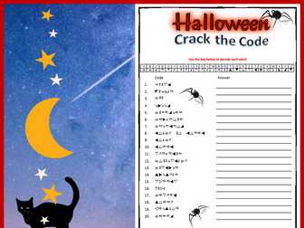Halloween Crack the Code fun puzzle worksheet