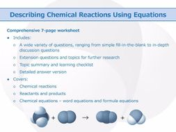 describing chemical reactions using equations worksheet by goodscienceworksheets teaching. Black Bedroom Furniture Sets. Home Design Ideas