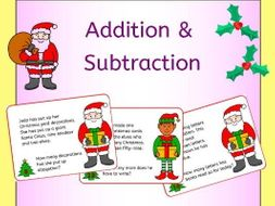 Christmas addition and subtraction word problem task cards