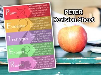 KS4 GCSE English - P.E.T.E.R Poster/Cheatsheet