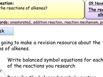 New AQA GCSE Trilogy/Separate Cracking and Alkenes lessons and resources